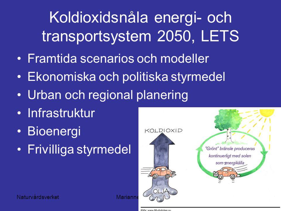 NaturvårdsverketMarianne Lilliesköld Koldioxidsnåla energi- och transportsystem 2050, LETS Framtida scenarios och modeller Ekonomiska och politiska styrmedel Urban och regional planering Infrastruktur Bioenergi Frivilliga styrmedel