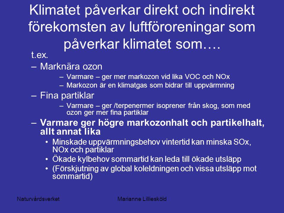 NaturvårdsverketMarianne Lilliesköld Klimatet påverkar direkt och indirekt förekomsten av luftföroreningar som påverkar klimatet som….