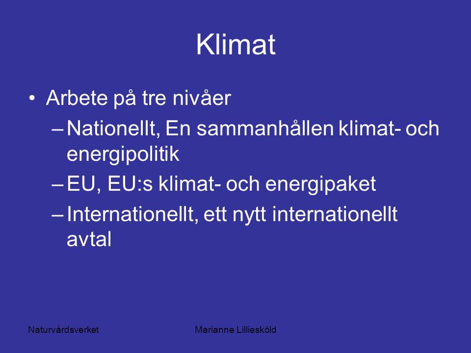 NaturvårdsverketMarianne Lilliesköld Klimat Arbete på tre nivåer –Nationellt, En sammanhållen klimat- och energipolitik –EU, EU:s klimat- och energipaket –Internationellt, ett nytt internationellt avtal