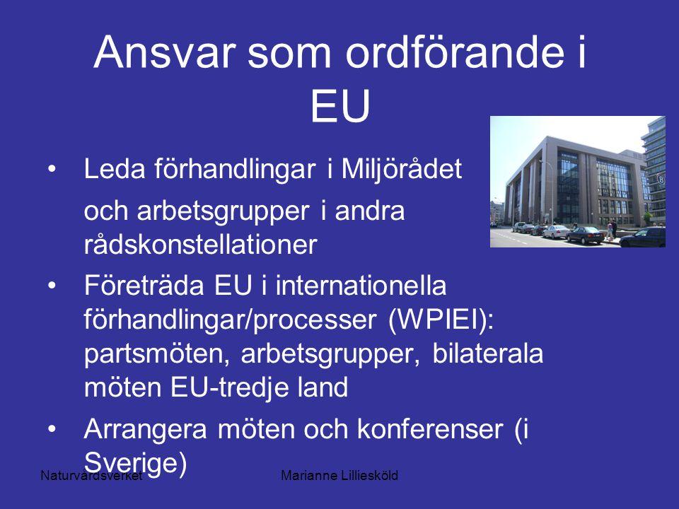 NaturvårdsverketMarianne Lilliesköld Ansvar som ordförande i EU Leda förhandlingar i Miljörådet och arbetsgrupper i andra rådskonstellationer Företräda EU i internationella förhandlingar/processer (WPIEI): partsmöten, arbetsgrupper, bilaterala möten EU-tredje land Arrangera möten och konferenser (i Sverige)