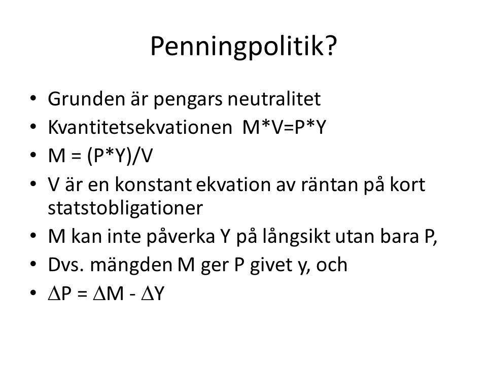 Penningpolitik? Grunden är pengars neutralitet Kvantitetsekvationen M*V=P*Y M = (P*Y)/V V är en konstant ekvation av räntan på kort statstobligationer