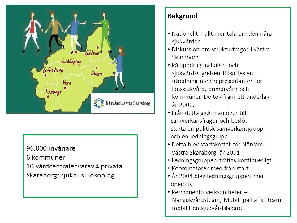 96.000 invånare 6 kommuner 10 vårdcentraler varav 4 privata Skaraborgs sjukhus Lidköping Bakgrund Nationellt – allt mer tala om den nära sjukvården Diskussion om strukturfrågor i västra Skaraborg.