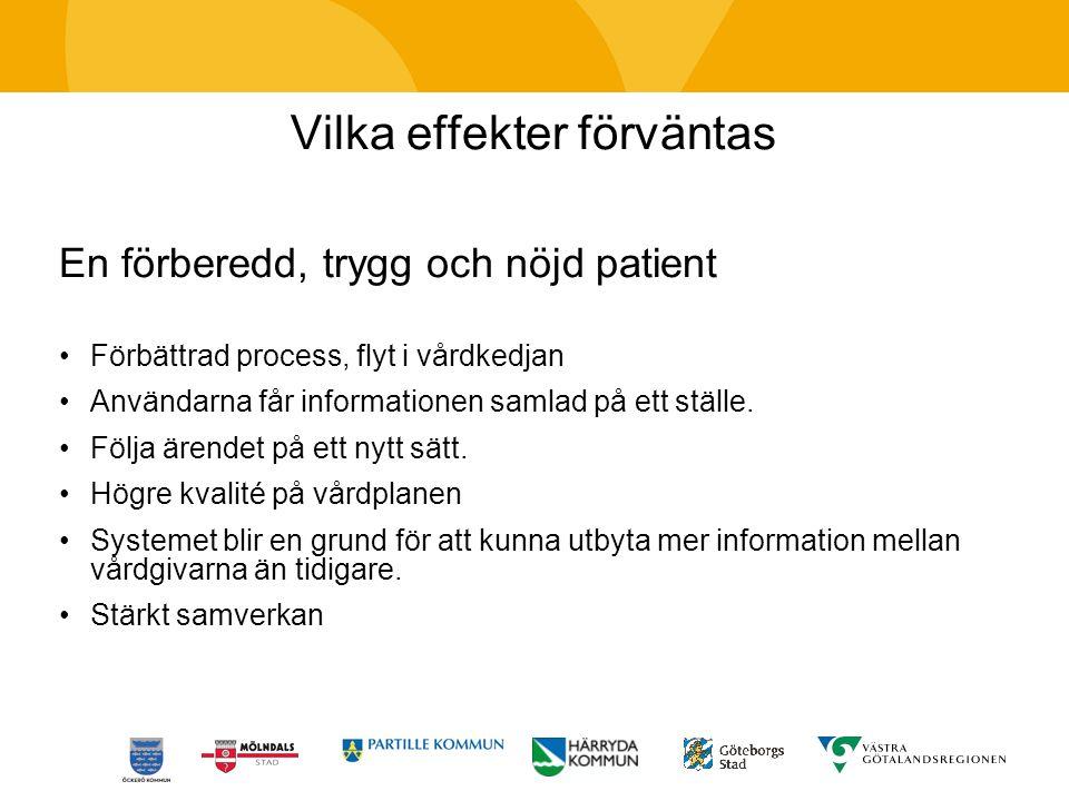 Vilka effekter förväntas En förberedd, trygg och nöjd patient Förbättrad process, flyt i vårdkedjan Användarna får informationen samlad på ett ställe.