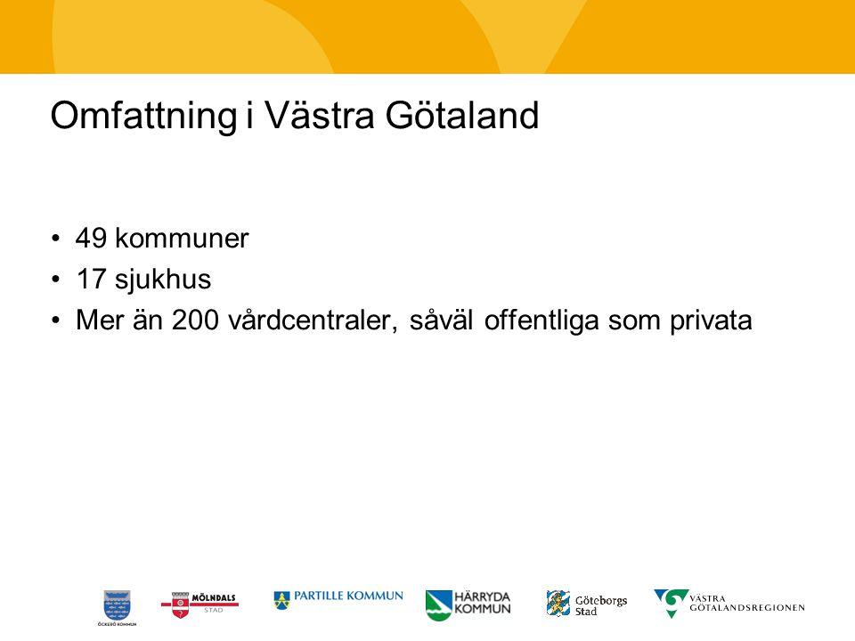 Omfattning i Västra Götaland 49 kommuner 17 sjukhus Mer än 200 vårdcentraler, såväl offentliga som privata