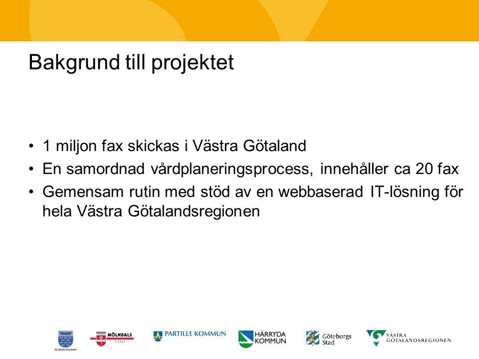 Bakgrund till projektet 1 miljon fax skickas i Västra Götaland En samordnad vårdplaneringsprocess, innehåller ca 20 fax Gemensam rutin med stöd av en