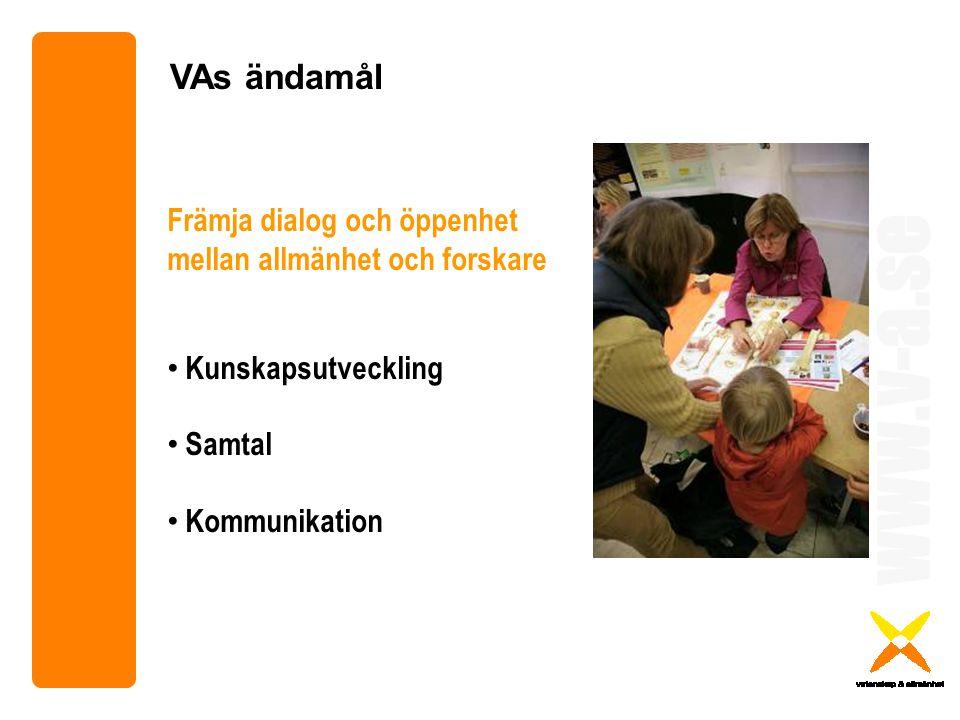 www.v-a.se VAs ändamål Främja dialog och öppenhet mellan allmänhet och forskare Kunskapsutveckling Samtal Kommunikation