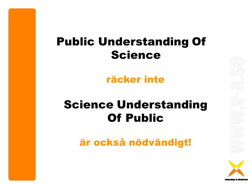 www.v-a.se Public Understanding Of Science räcker inte Science Understanding Of Public är också nödvändigt!