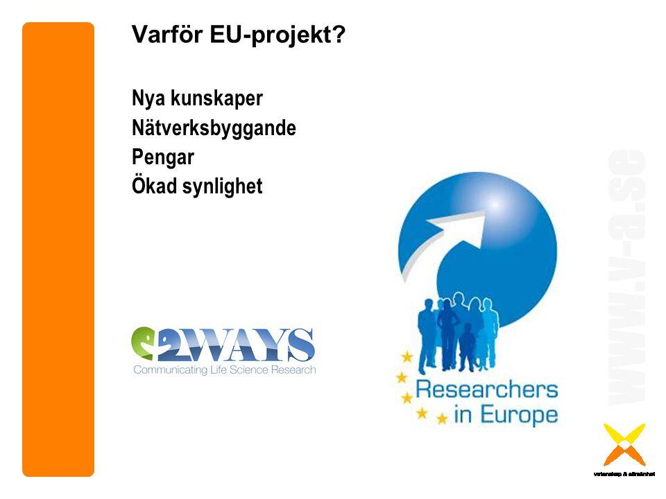 www.v-a.se Varför EU-projekt? Nya kunskaper Nätverksbyggande Pengar Ökad synlighet