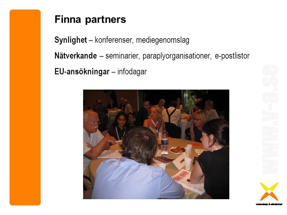 www.v-a.se Synlighet – konferenser, mediegenomslag Nätverkande – seminarier, paraplyorganisationer, e-postlistor EU-ansökningar – infodagar Finna partners