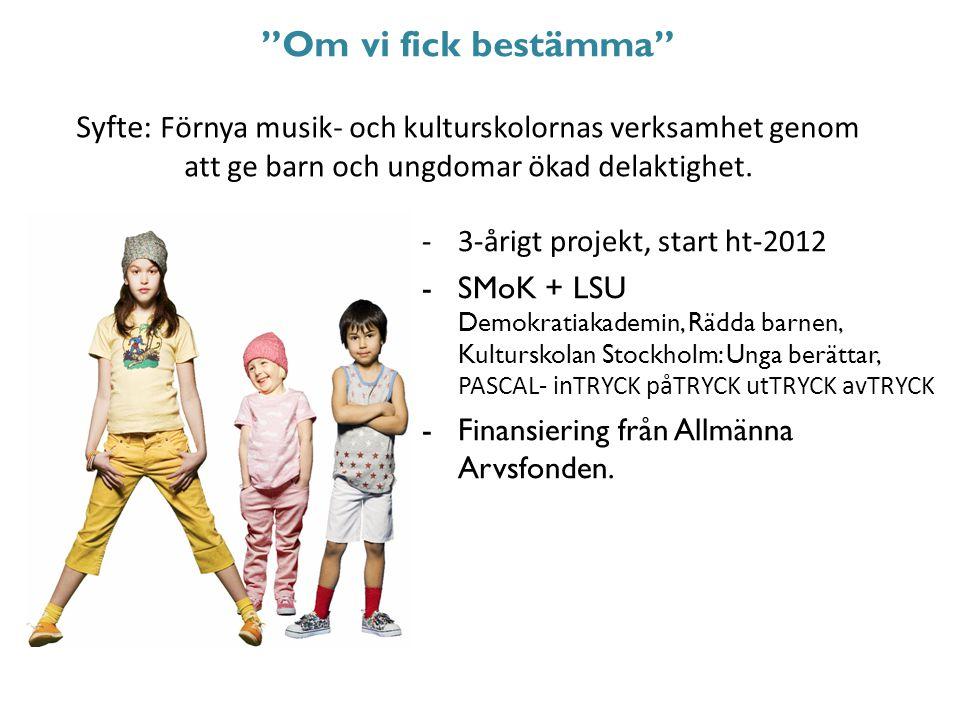 -3-årigt projekt, start ht-2012 -SMoK + LSU Demokratiakademin, Rädda barnen, Kulturskolan Stockholm: Unga berättar, PASCAL- inTRYCK påTRYCK utTRYCK a
