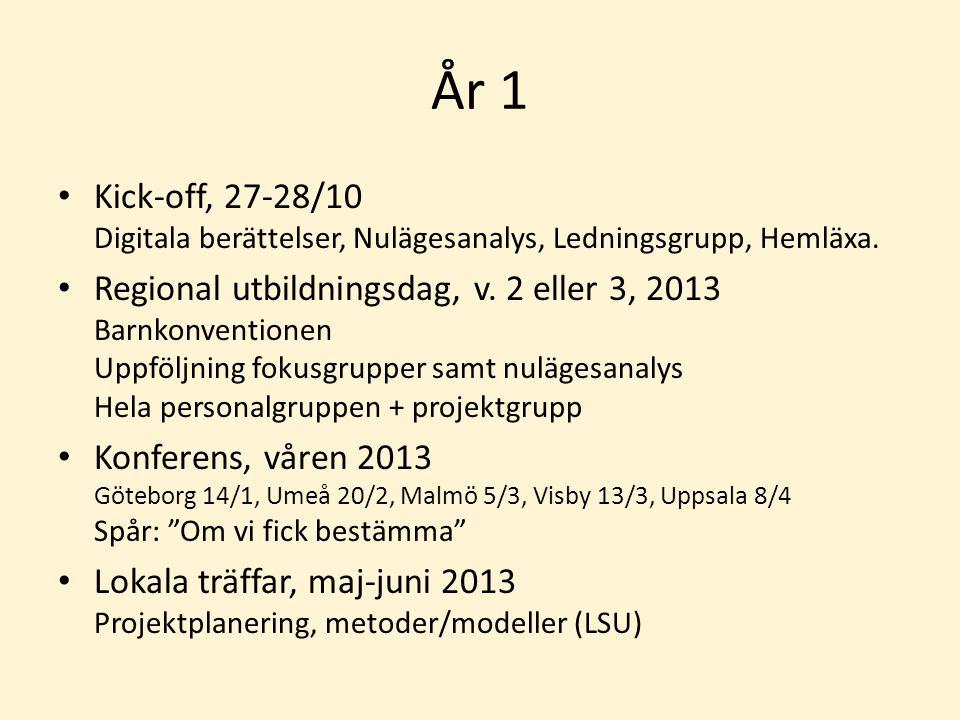 År 1 Kick-off, 27-28/10 Digitala berättelser, Nulägesanalys, Ledningsgrupp, Hemläxa. Regional utbildningsdag, v. 2 eller 3, 2013 Barnkonventionen Uppf