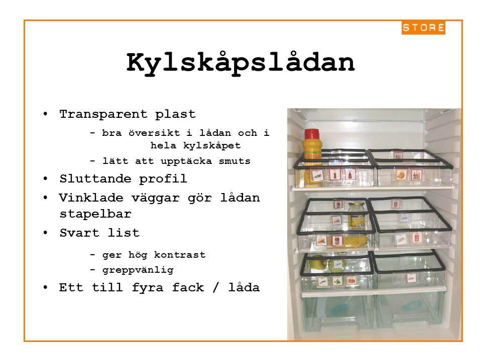 Kylskåpslådan Transparent plast - bra översikt i lådan och i hela kylskåpet - lätt att upptäcka smuts Sluttande profil Vinklade väggar gör lådan stape