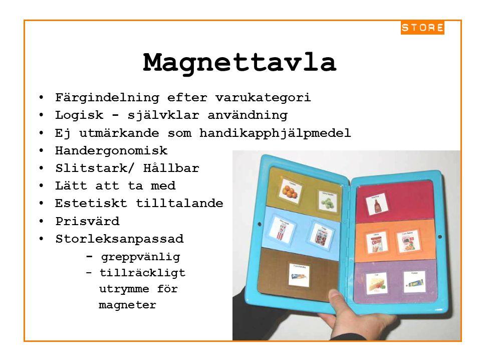 Magnettavla Färgindelning efter varukategori Logisk - självklar användning Ej utmärkande som handikapphjälpmedel Handergonomisk Slitstark/ Hållbar Lät