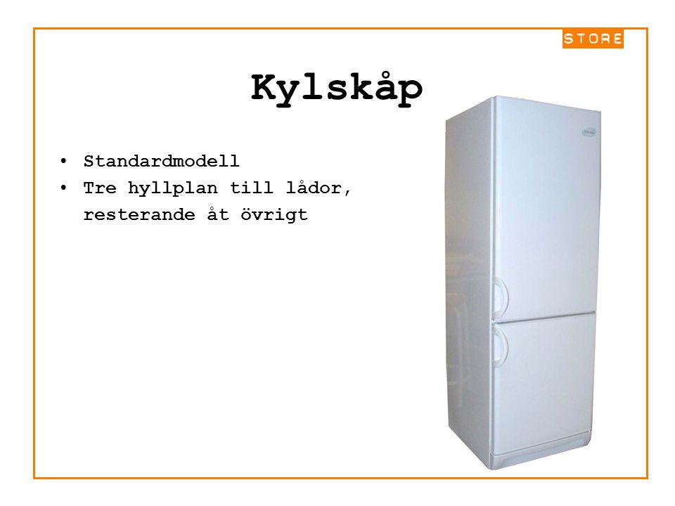 Kylskåp Standardmodell Tre hyllplan till lådor, resterande åt övrigt