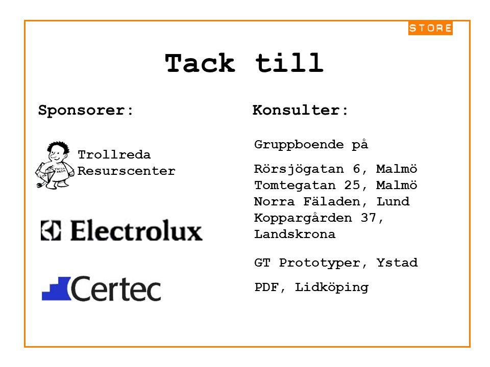 Tack till Sponsorer: Trollreda Resurscenter Konsulter: Norra Fäladen, Lund GT Prototyper, Ystad PDF, Lidköping Rörsjögatan 6, Malmö Tomtegatan 25, Mal