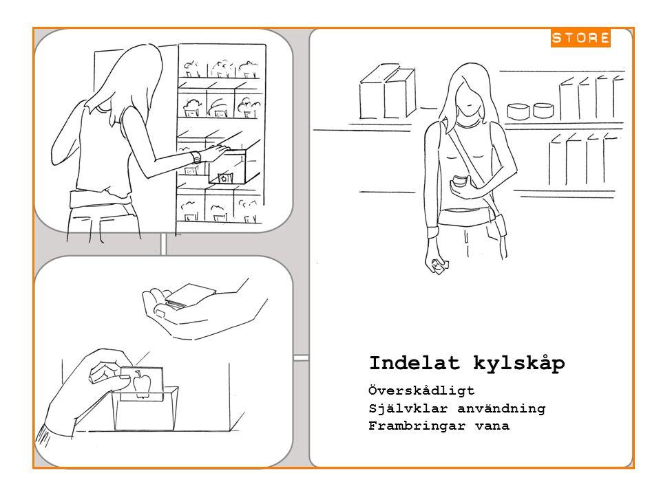 Indelat kylskåp Överskådligt Självklar användning Frambringar vana