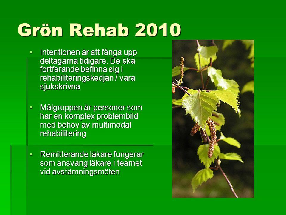 Grön Rehab 2010  Intentionen är att fånga upp deltagarna tidigare. De ska fortfarande befinna sig i rehabiliteringskedjan / vara sjukskrivna  Målgru