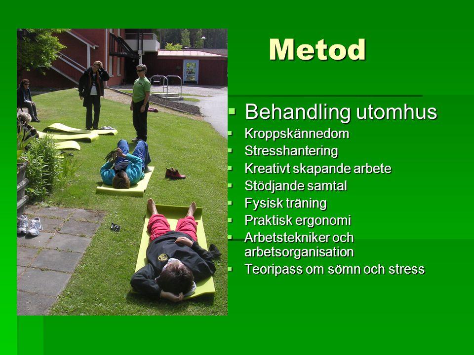  Behandling utomhus  Kroppskännedom  Stresshantering  Kreativt skapande arbete  Stödjande samtal  Fysisk träning  Praktisk ergonomi  Arbetstek