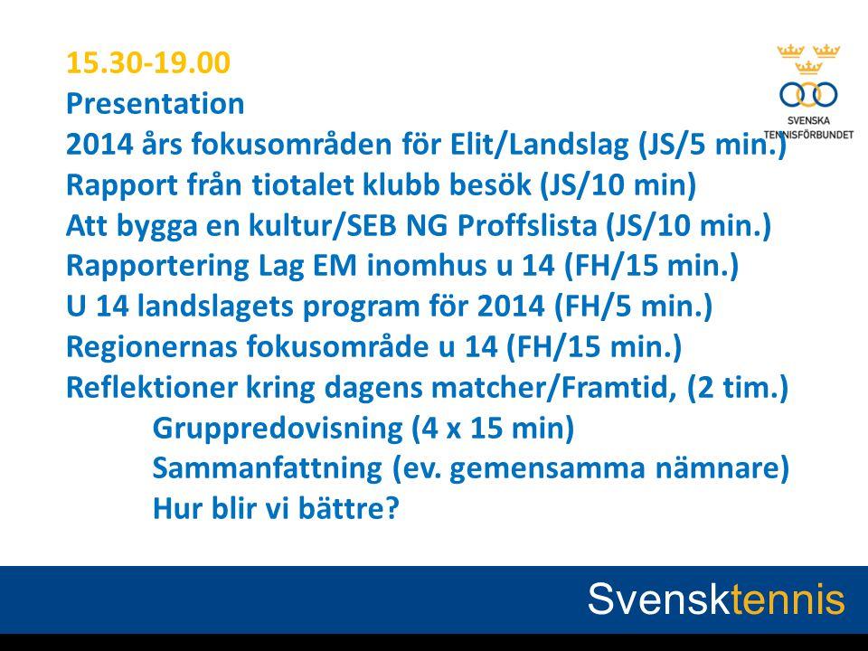 AGENDA 27 FEB, 2014 15.30-19.00 Presentation 2014 års fokusområden för Elit/Landslag (JS/5 min.) Rapport från tiotalet klubb besök (JS/10 min) Att byg