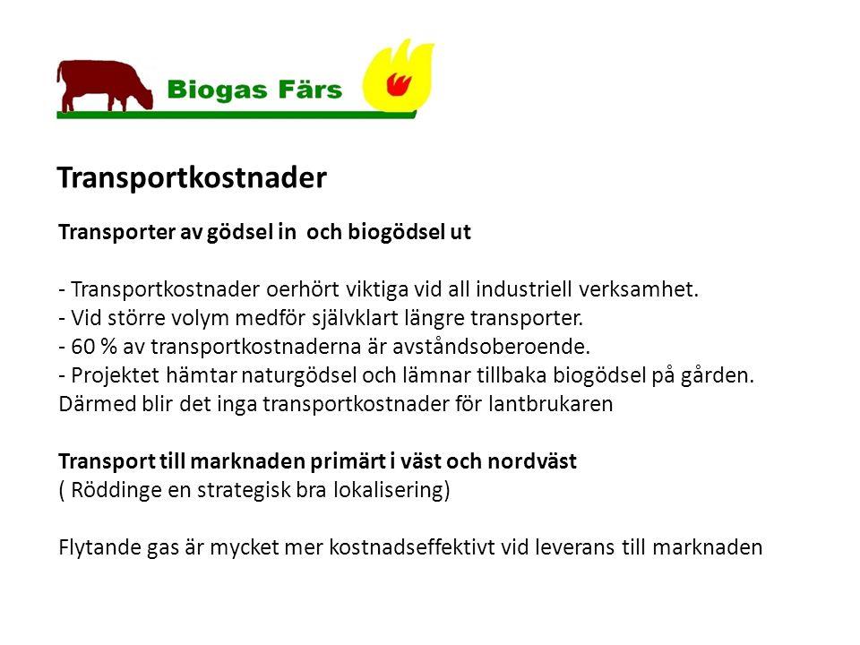 Transporter av gödsel in och biogödsel ut - Transportkostnader oerhört viktiga vid all industriell verksamhet.