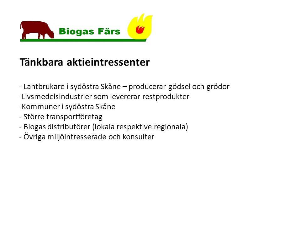 Tänkbara aktieintressenter - Lantbrukare i sydöstra Skåne – producerar gödsel och grödor -Livsmedelsindustrier som levererar restprodukter -Kommuner i sydöstra Skåne - Större transportföretag - Biogas distributörer (lokala respektive regionala) - Övriga miljöintresserade och konsulter