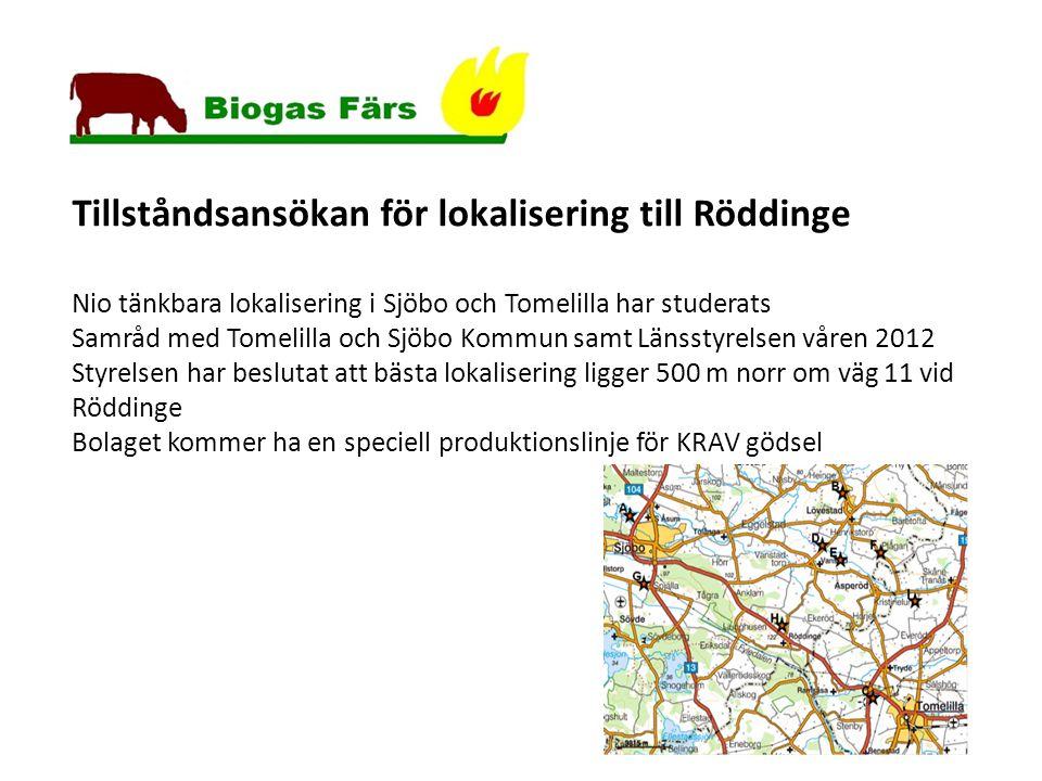 Tillståndsansökan för lokalisering till Röddinge Nio tänkbara lokalisering i Sjöbo och Tomelilla har studerats Samråd med Tomelilla och Sjöbo Kommun samt Länsstyrelsen våren 2012 Styrelsen har beslutat att bästa lokalisering ligger 500 m norr om väg 11 vid Röddinge Bolaget kommer ha en speciell produktionslinje för KRAV gödsel