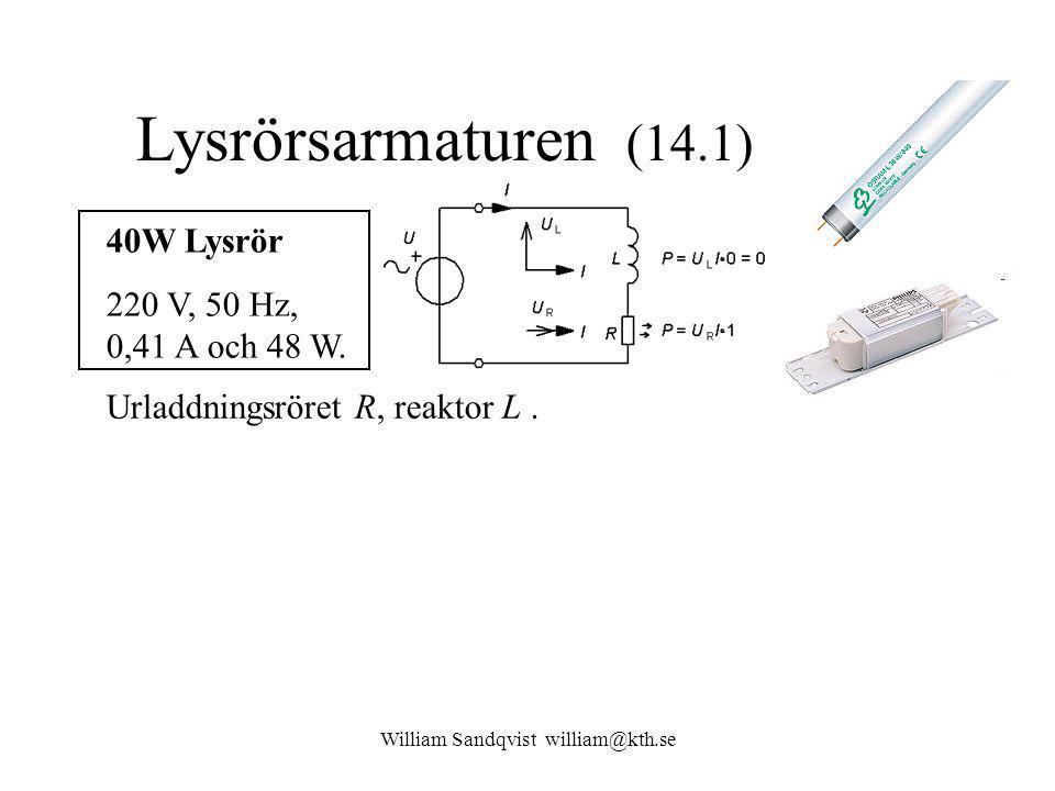 William Sandqvist william@kth.se Lysrörsarmaturen (14.1) Z 40W Lysrör 220 V, 50 Hz, 0,41 A och 48 W.