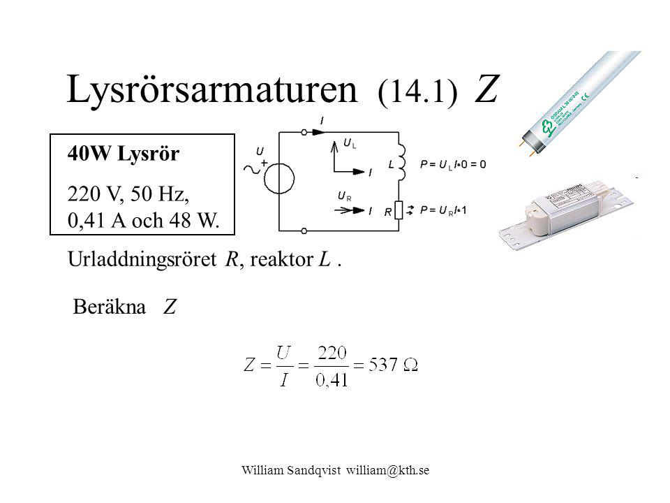 William Sandqvist william@kth.se Lysrörsarmaturen (14.1) Z 40W Lysrör 220 V, 50 Hz, 0,41 A och 48 W.