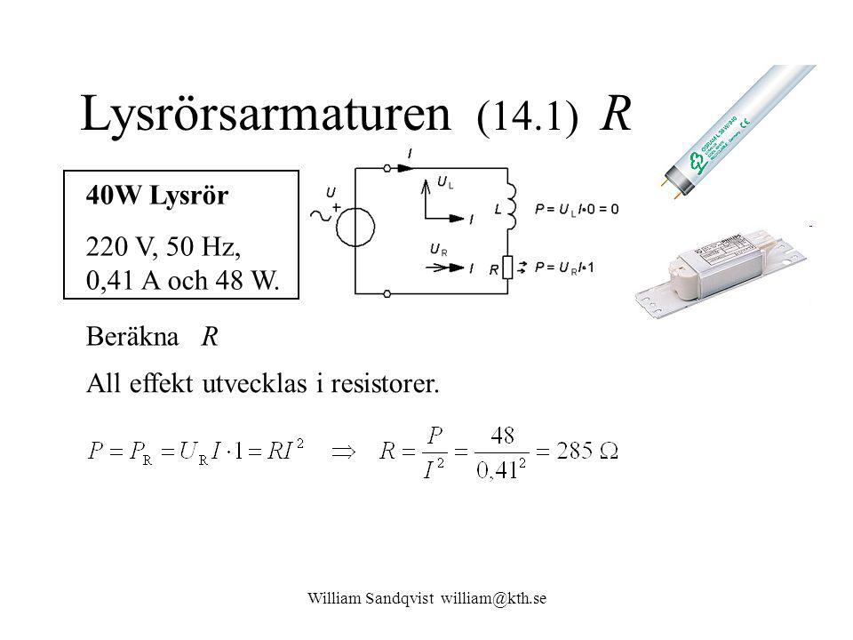 William Sandqvist william@kth.se Lysrörsarmaturen (14.1) R 40W Lysrör 220 V, 50 Hz, 0,41 A och 48 W.
