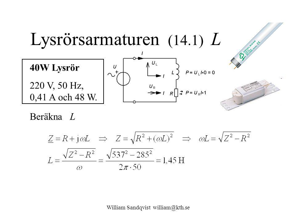 William Sandqvist william@kth.se Lysrörsarmaturen (14.1) L 40W Lysrör 220 V, 50 Hz, 0,41 A och 48 W. Beräkna L