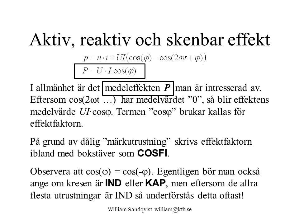 William Sandqvist william@kth.se Aktiv, reaktiv och skenbar effekt P är den aktiva, verkliga effekten.