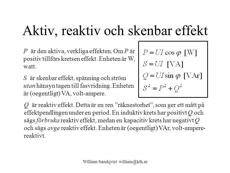 William Sandqvist william@kth.se Effekt-triangeln P och Q är vinkelräta (sin och cos) så S är därför hypotenusa i en rätvinklig triangel – effekt-triangeln.