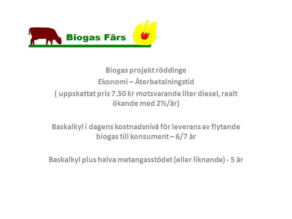 Biogas projekt röddinge Ekonomi – Återbetalningstid ( uppskattat pris 7.50 kr motsvarande liter diesel, realt ökande med 2%/år) Baskalkyl i dagens kostnadsnivå för leverans av flytande biogas till konsument – 6/7 år Baskalkyl plus halva metangasstödet (eller liknande) - 5 år