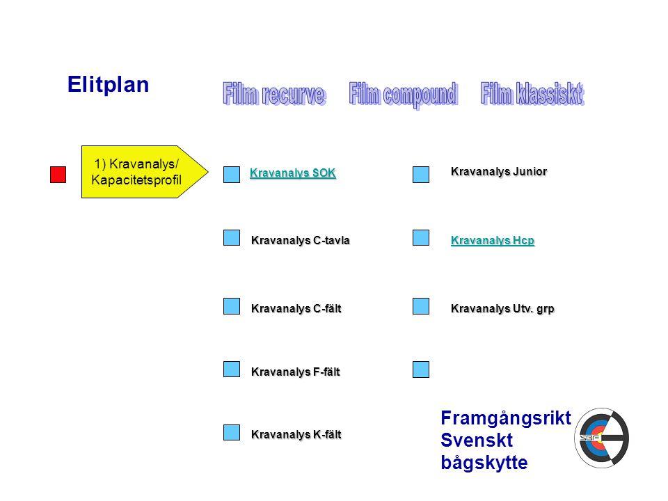 Elitplan Framgångsrikt Svenskt bågskytte 1) Kravanalys/ Kapacitetsprofil Kravanalys SOK Kravanalys SOK Kravanalys C-tavla Kravanalys C-fält Kravanalys