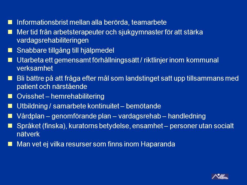 Kalix, Övertorneå, Överkalix, Haparanda primärvård Fråga patienten vilken rehabilitering de vill ha Bättre kommunikation genom hela vårdkedjan Tydligare målsättning.