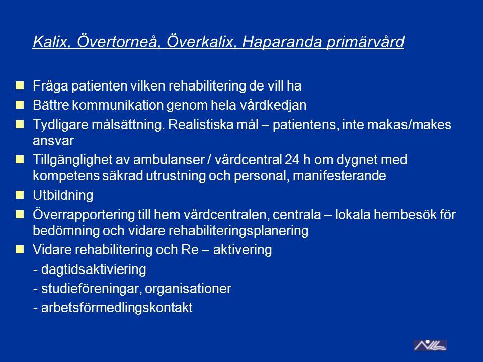 Kalix, Övertorneå, Överkalix, Haparanda primärvård Fråga patienten vilken rehabilitering de vill ha Bättre kommunikation genom hela vårdkedjan Tydliga