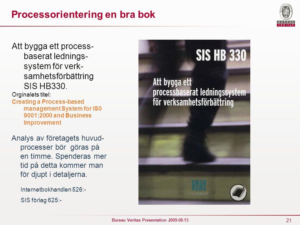 21 Bureau Veritas Presentation 2009-08-13 Processorientering en bra bok Att bygga ett process- baserat lednings- system för verk- samhetsförbättring SIS HB330.