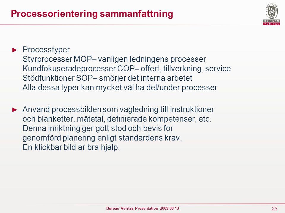 25 Bureau Veritas Presentation 2009-08-13 Processorientering sammanfattning ► Processtyper Styrprocesser MOP– vanligen ledningens processer Kundfokuse
