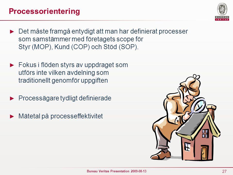 27 Bureau Veritas Presentation 2009-08-13 Processorientering ► Det måste framgå entydigt att man har definierat processer som samstämmer med företagets scope för Styr (MOP), Kund (COP) och Stöd (SOP).