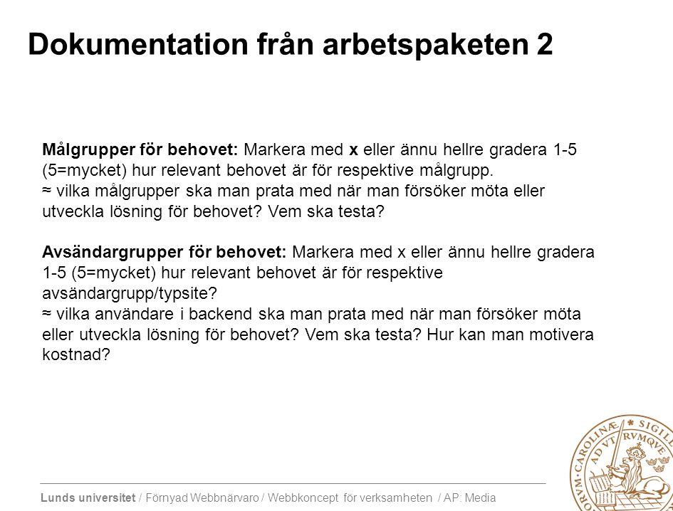 Lunds universitet / Förnyad Webbnärvaro / Webbkoncept för verksamheten / AP: Media Dokumentation från arbetspaketen 2 Målgrupper för behovet: Markera med x eller ännu hellre gradera 1-5 (5=mycket) hur relevant behovet är för respektive målgrupp.