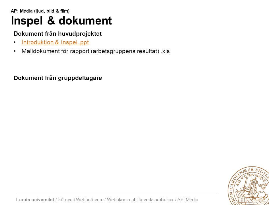 Lunds universitet / Förnyad Webbnärvaro / Webbkoncept för verksamheten / AP: Media AP: Media (ljud, bild & film) Inspel & dokument Dokument från huvudprojektet Introduktion & Inspel.ppt Malldokument för rapport (arbetsgruppens resultat).xls Dokument från gruppdeltagare