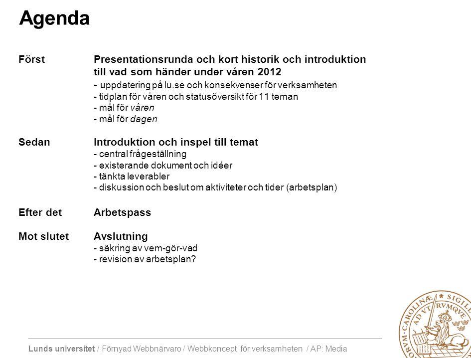 Lunds universitet / Förnyad Webbnärvaro / Webbkoncept för verksamheten / AP: Media Agenda FörstPresentationsrunda och kort historik och introduktion till vad som händer under våren 2012 - uppdatering på lu.se och konsekvenser för verksamheten - tidplan för våren och statusöversikt för 11 teman - mål för våren - mål för dagen SedanIntroduktion och inspel till temat - central frågeställning - existerande dokument och idéer - tänkta leverabler - diskussion och beslut om aktiviteter och tider (arbetsplan) Efter detArbetspass Mot slutetAvslutning - säkring av vem-gör-vad - revision av arbetsplan?