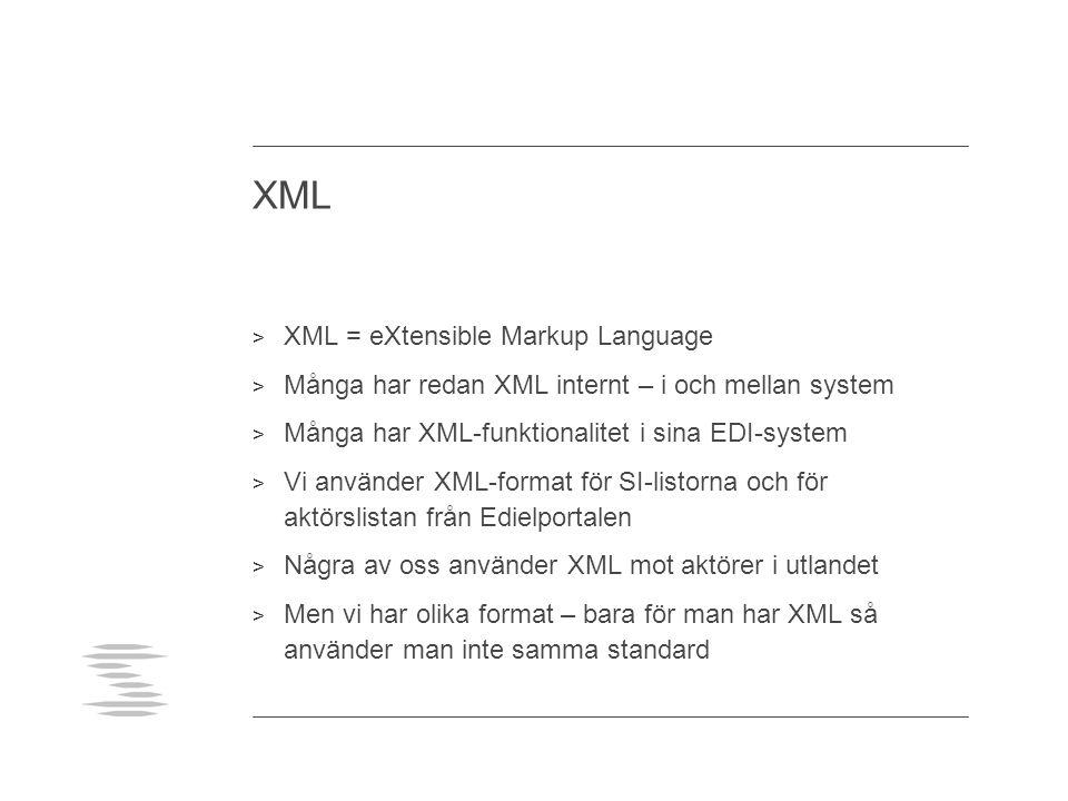 XML > XML = eXtensible Markup Language > Många har redan XML internt – i och mellan system > Många har XML-funktionalitet i sina EDI-system > Vi använ