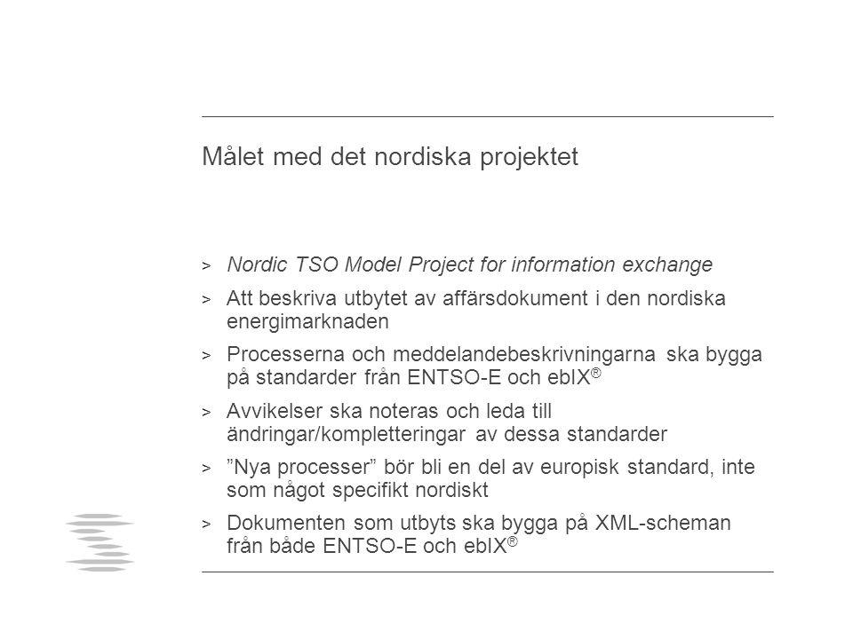 Målet med det nordiska projektet > Nordic TSO Model Project for information exchange > Att beskriva utbytet av affärsdokument i den nordiska energimar
