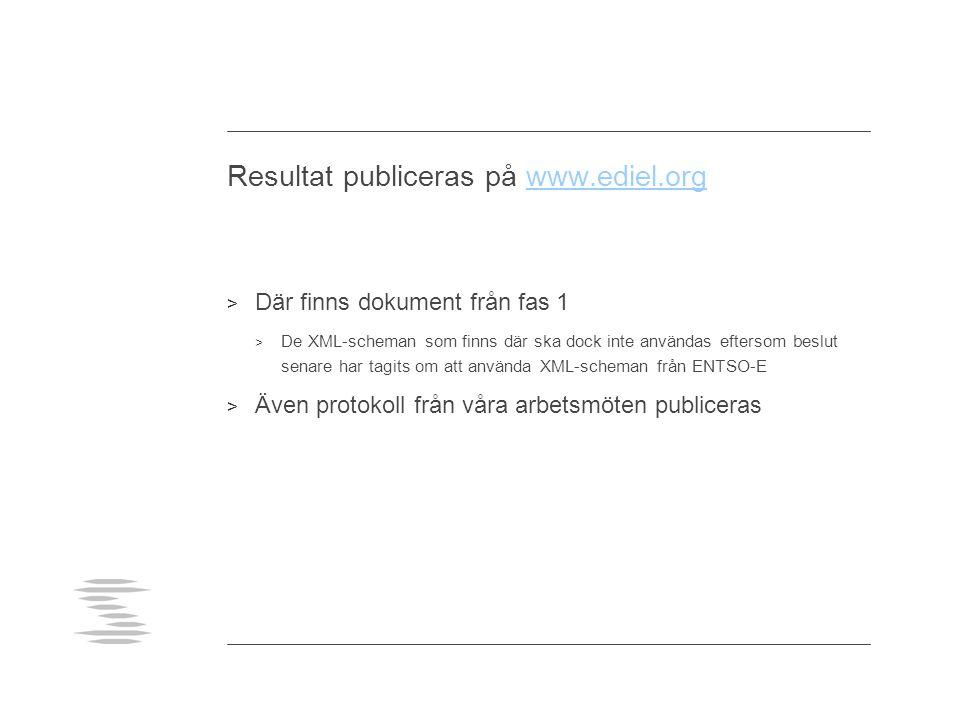 Resultat publiceras på www.ediel.orgwww.ediel.org > Där finns dokument från fas 1 > De XML-scheman som finns där ska dock inte användas eftersom beslu
