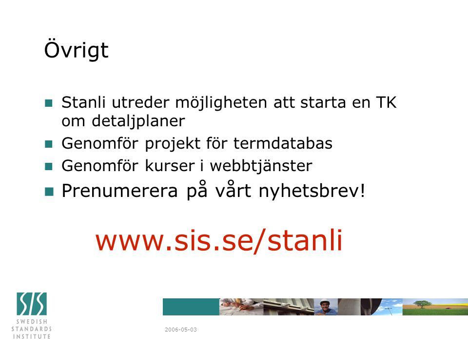 2006-05-03 Övrigt n Stanli utreder möjligheten att starta en TK om detaljplaner n Genomför projekt för termdatabas n Genomför kurser i webbtjänster n Prenumerera på vårt nyhetsbrev.