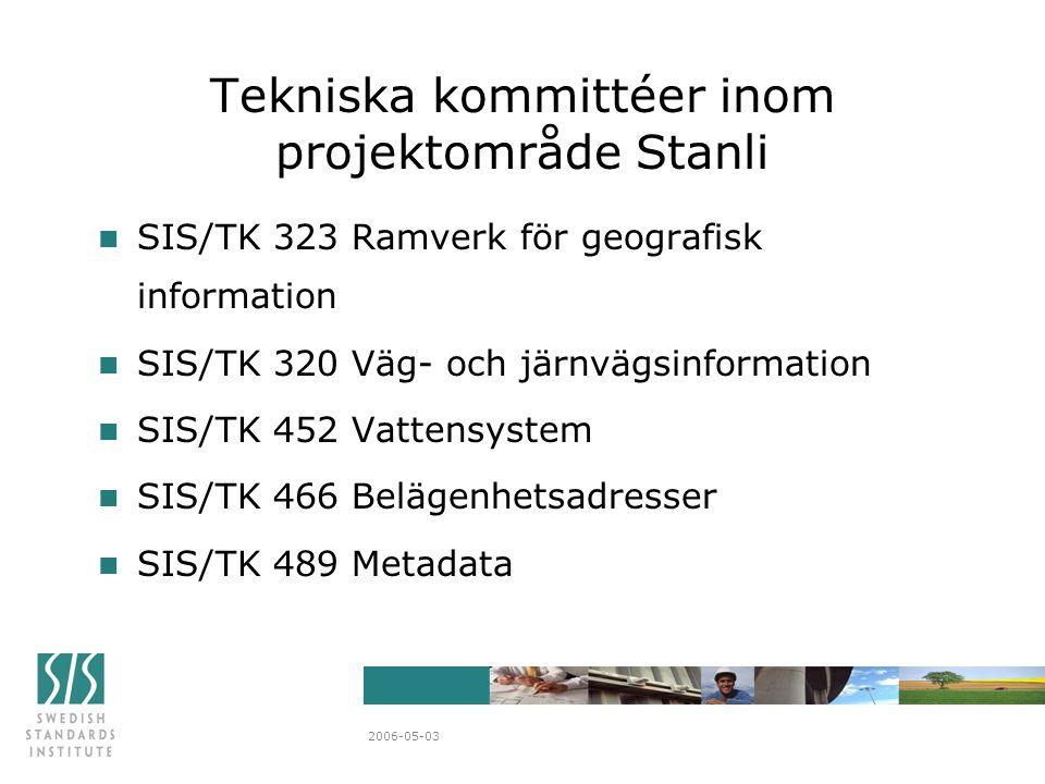 2006-05-03 n SIS/TK 323 Ramverk för geografisk information n SIS/TK 320 Väg- och järnvägsinformation n SIS/TK 452 Vattensystem n SIS/TK 466 Belägenhetsadresser n SIS/TK 489 Metadata Tekniska kommittéer inom projektområde Stanli