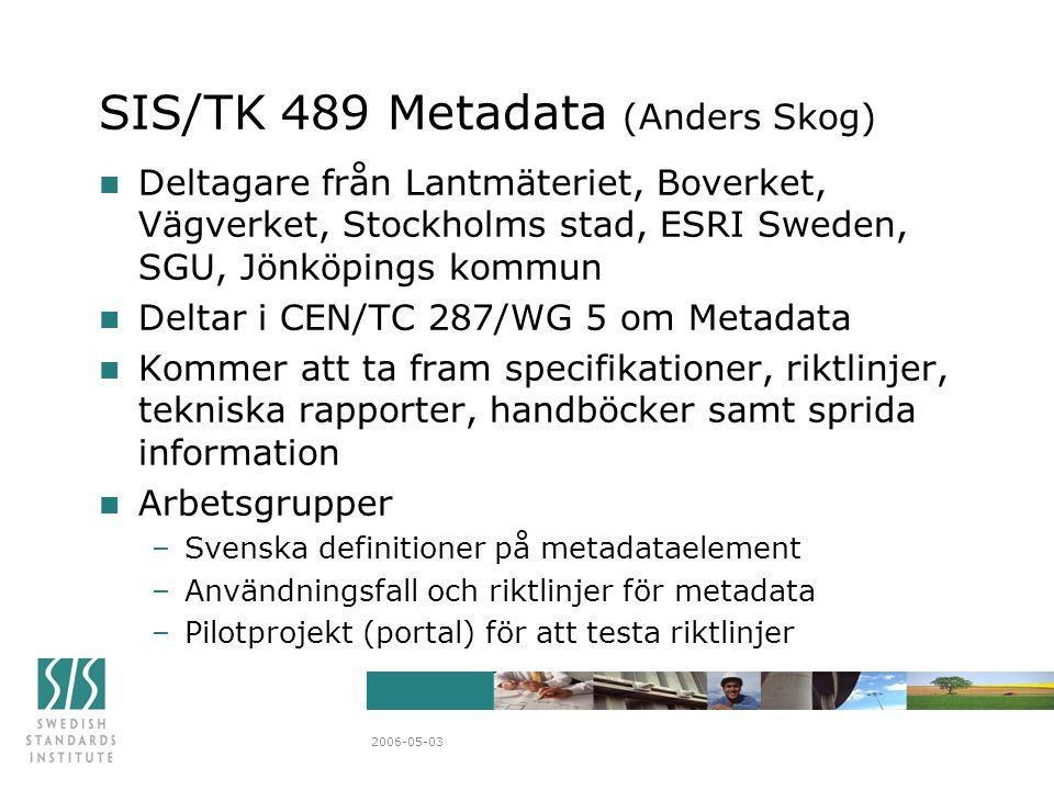 2006-05-03 SIS/TK 489 Metadata (Anders Skog) n Deltagare från Lantmäteriet, Boverket, Vägverket, Stockholms stad, ESRI Sweden, SGU, Jönköpings kommun n Deltar i CEN/TC 287/WG 5 om Metadata n Kommer att ta fram specifikationer, riktlinjer, tekniska rapporter, handböcker samt sprida information n Arbetsgrupper –Svenska definitioner på metadataelement –Användningsfall och riktlinjer för metadata –Pilotprojekt (portal) för att testa riktlinjer