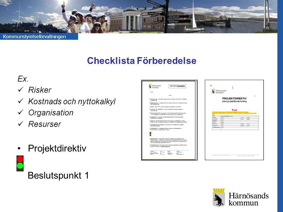 Kommunstyrelseförvaltningen Checklista Förberedelse Ex. Risker Kostnads och nyttokalkyl Organisation Resurser Projektdirektiv Beslutspunkt 1