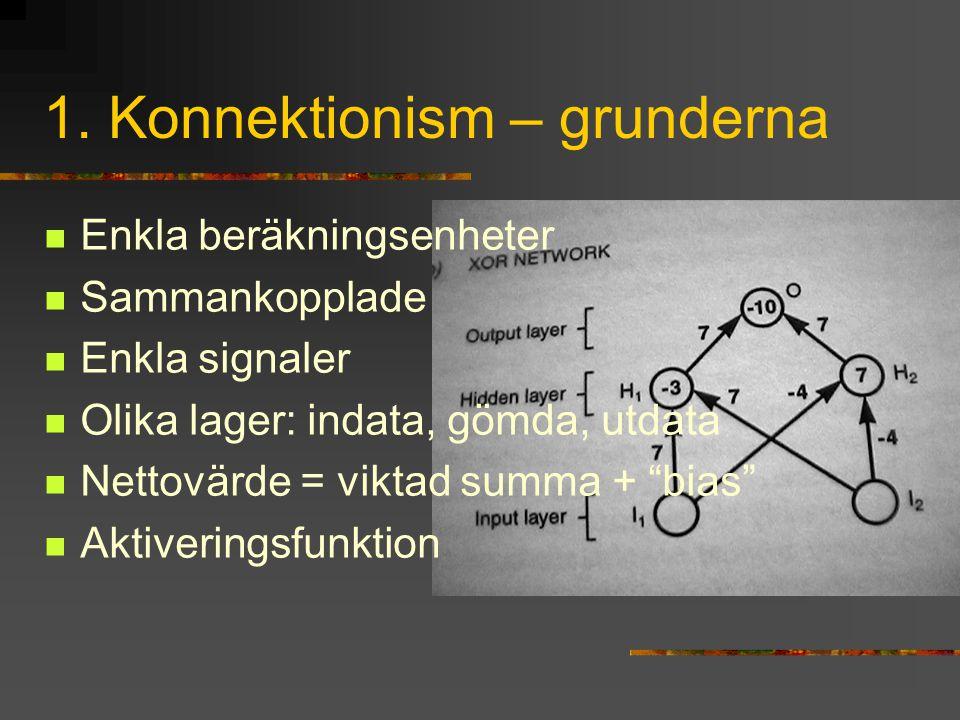 """1. Konnektionism – grunderna Enkla beräkningsenheter Sammankopplade Enkla signaler Olika lager: indata, gömda, utdata Nettovärde = viktad summa + """"bia"""